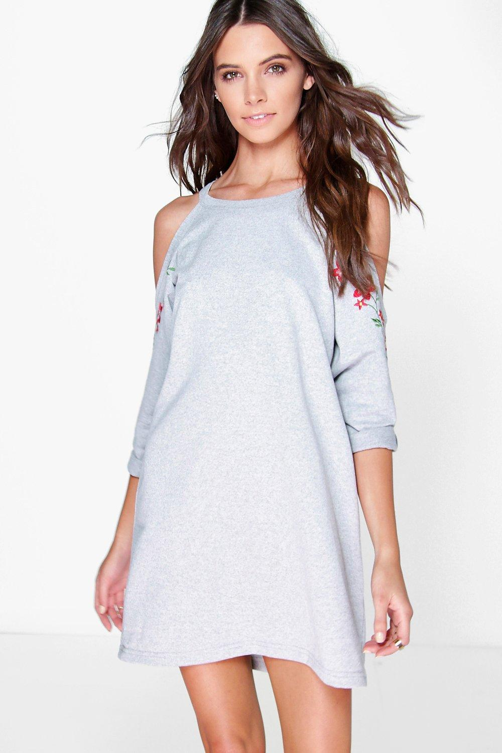 Isabella Embroidered Cold Shoulder Sweat Dress