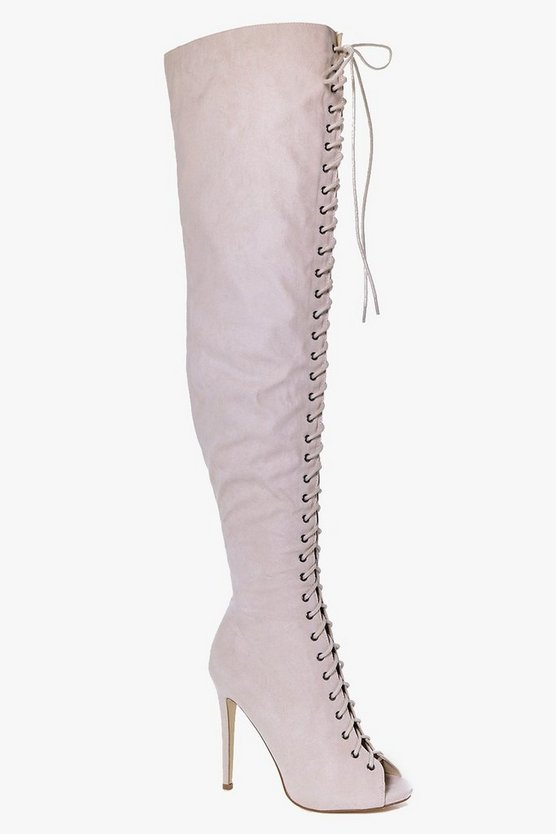 Lucy Lace Up Peeptoe Thigh High Boot