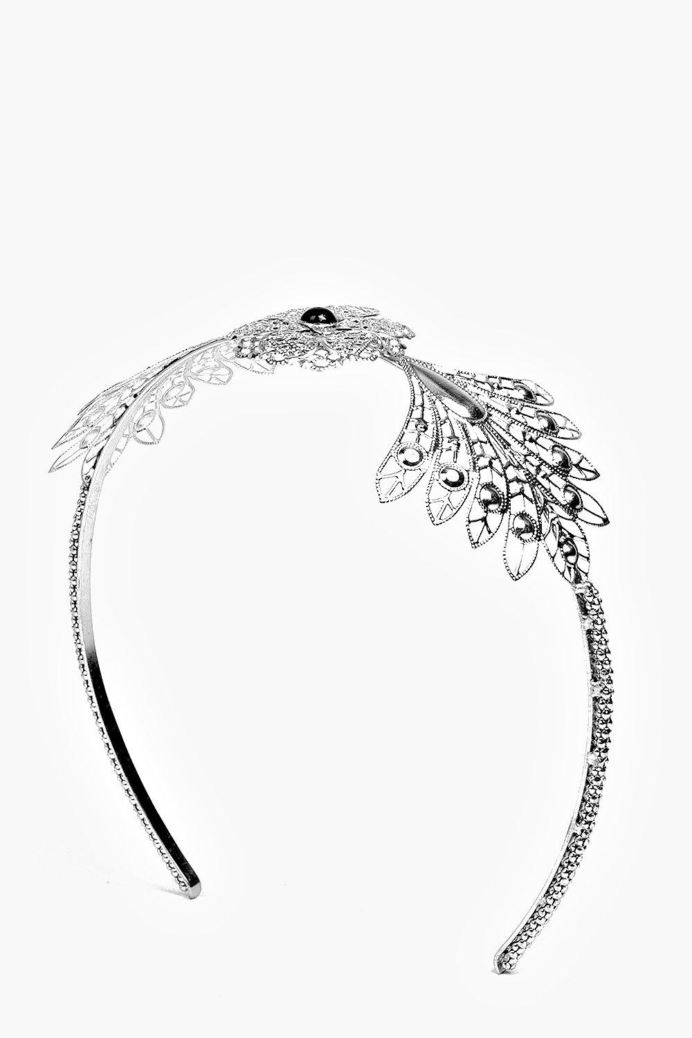 Ornate Winged Mermaid Stone Headband - silver - La