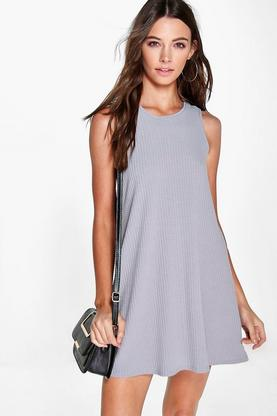 Erin Sleeveless Rib Knit Swing Dress