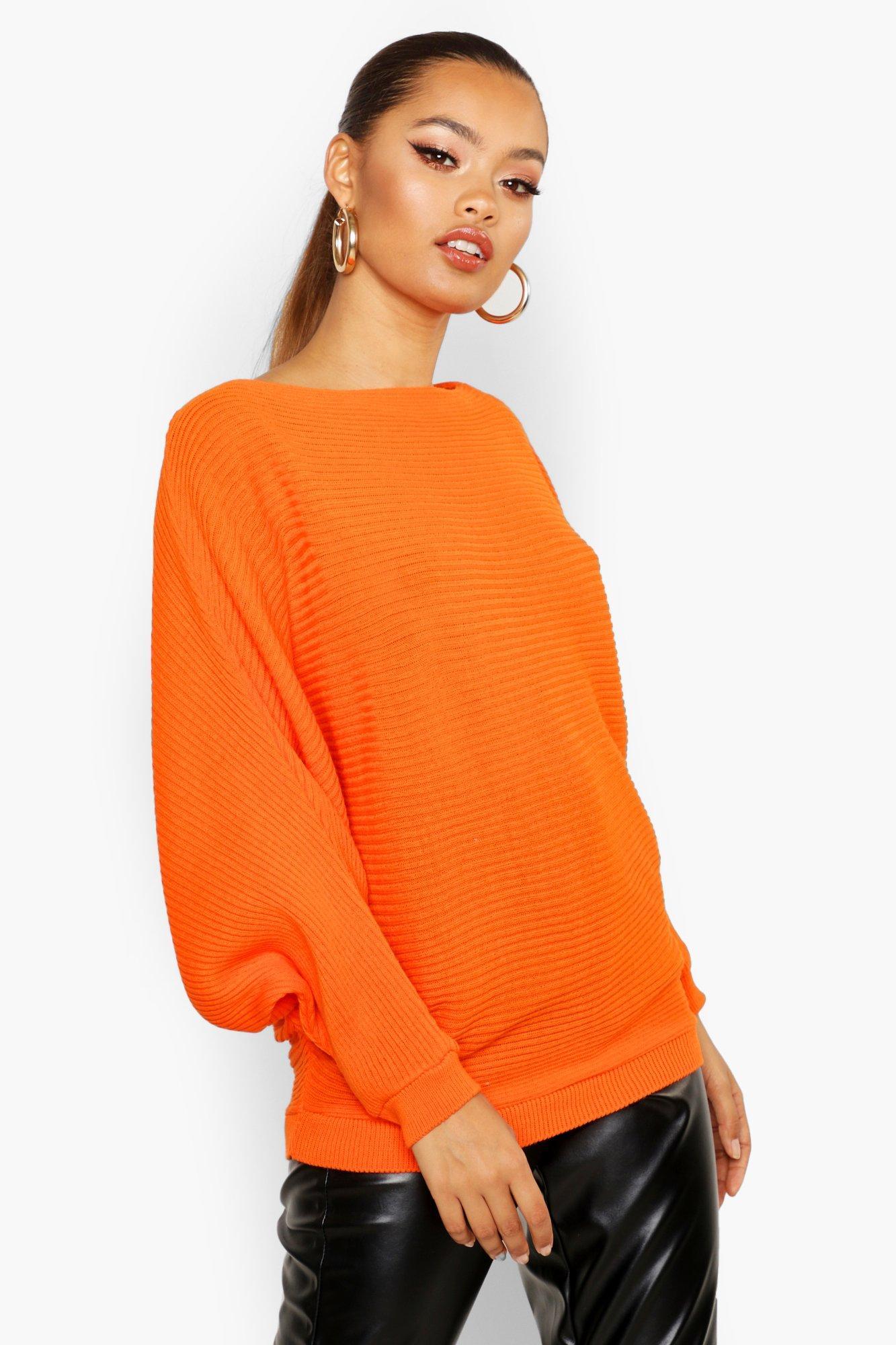 boohoo Womens Oversized Rib Knit Batwing Jumper - Orange - S/M, Orange