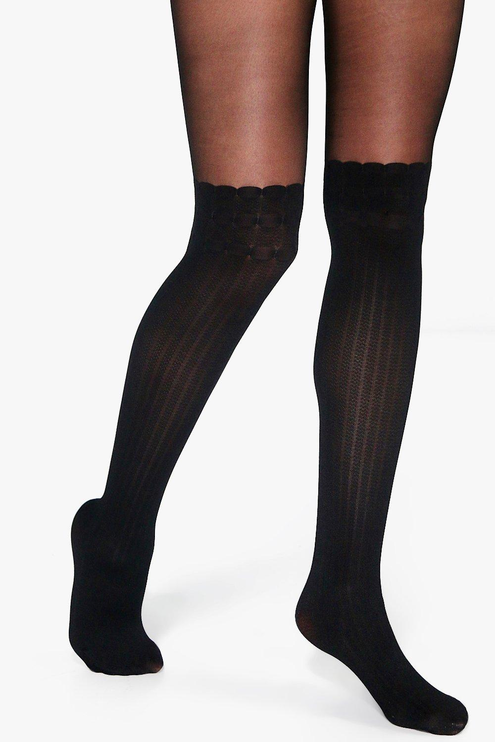 Orla Ribbed Over The Knee Suspender Tight