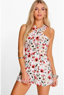 Ella Floral Print Cross Front Playsuit