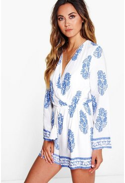 Cara Wrap Front Printed Playsuit