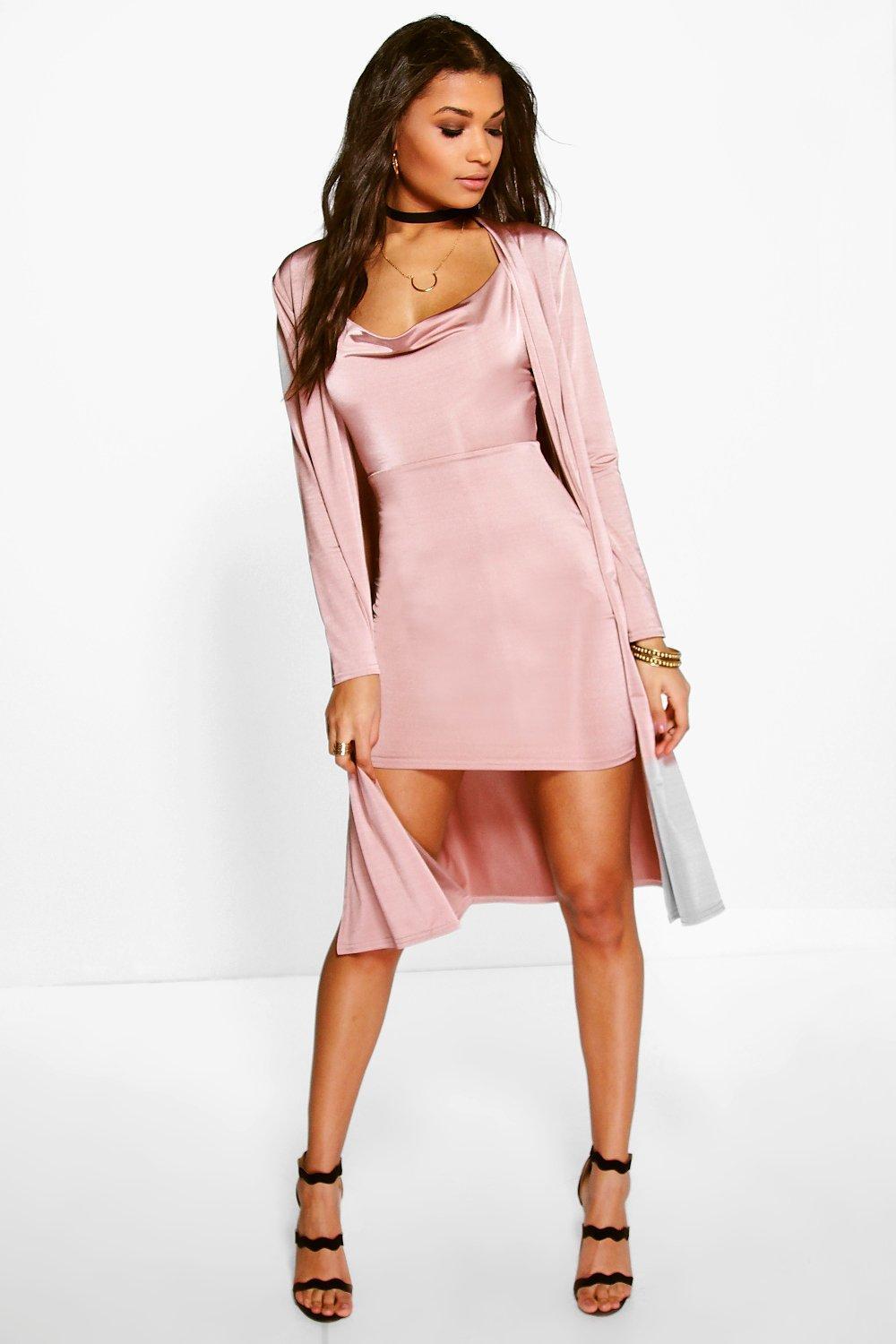 Darla Slinky Cowl Neck Dress & Duster Co-Ord Set