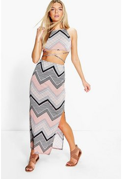 Deea Paisley Crop Top Maxi Skirt Co-Ord Set