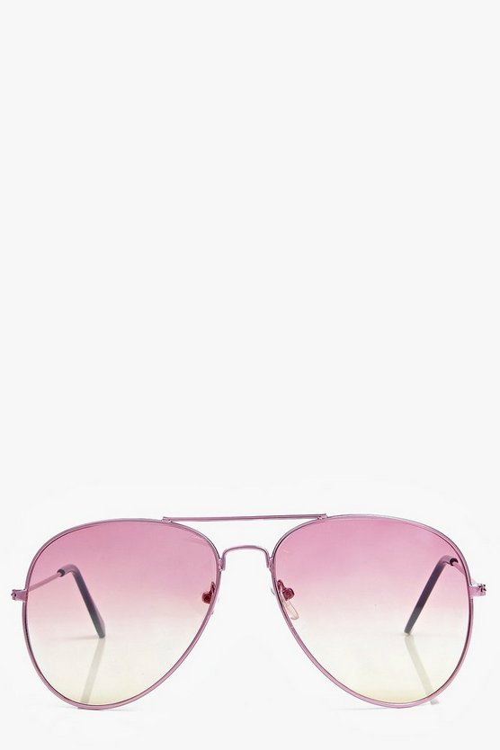 Lexi Pink Ombre Lense Aviator Fashion Glasses