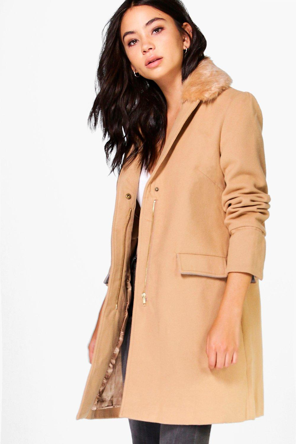 Maria Detachable Faux Fur Collar Coat