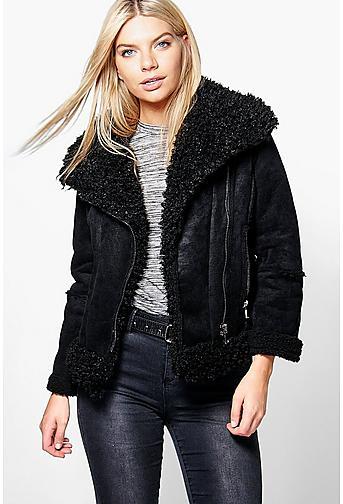 black contrast panel faux fur collar biker jacket