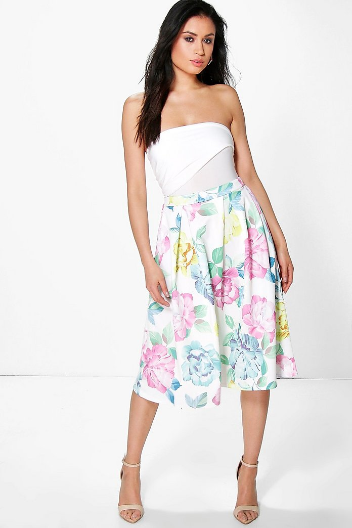 Megzhan Bright Floral Box Pleat Skater Skirt