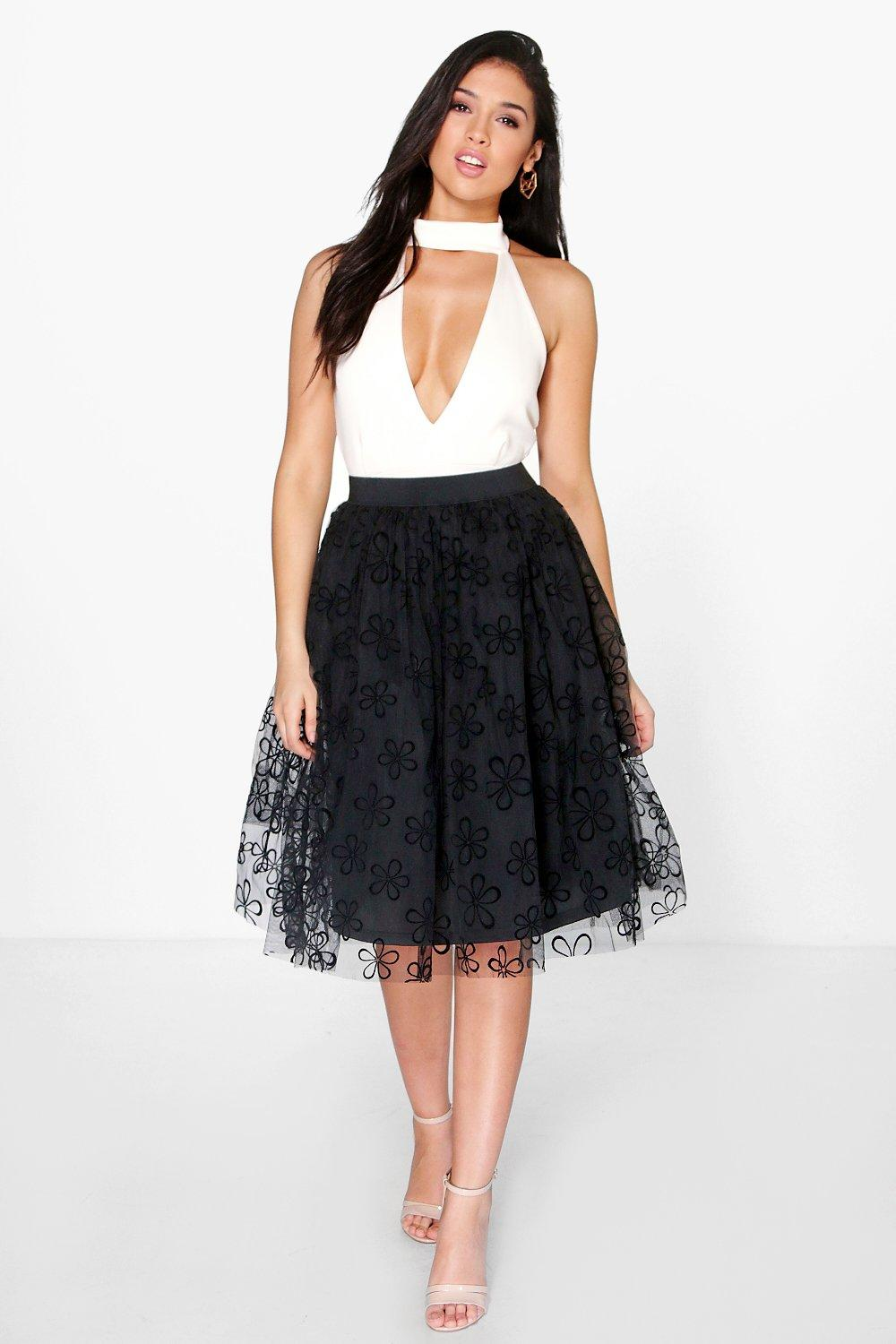 Boutique Giselle Floral Tulle Full Skater Skirt