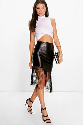 Avalyn Leather Look Asymetric Tassled Skirt