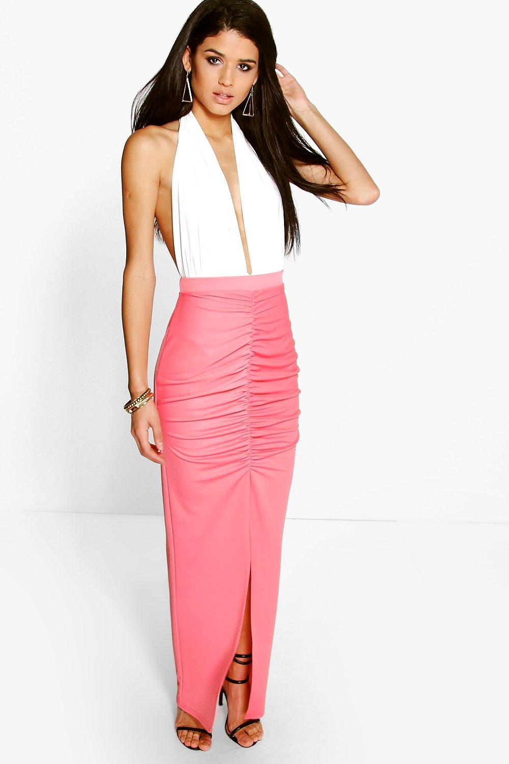 Olivia Rouched Front Split Maxi Skirt