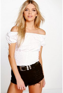Lily Woven Embroidered Off The Shoulder Top