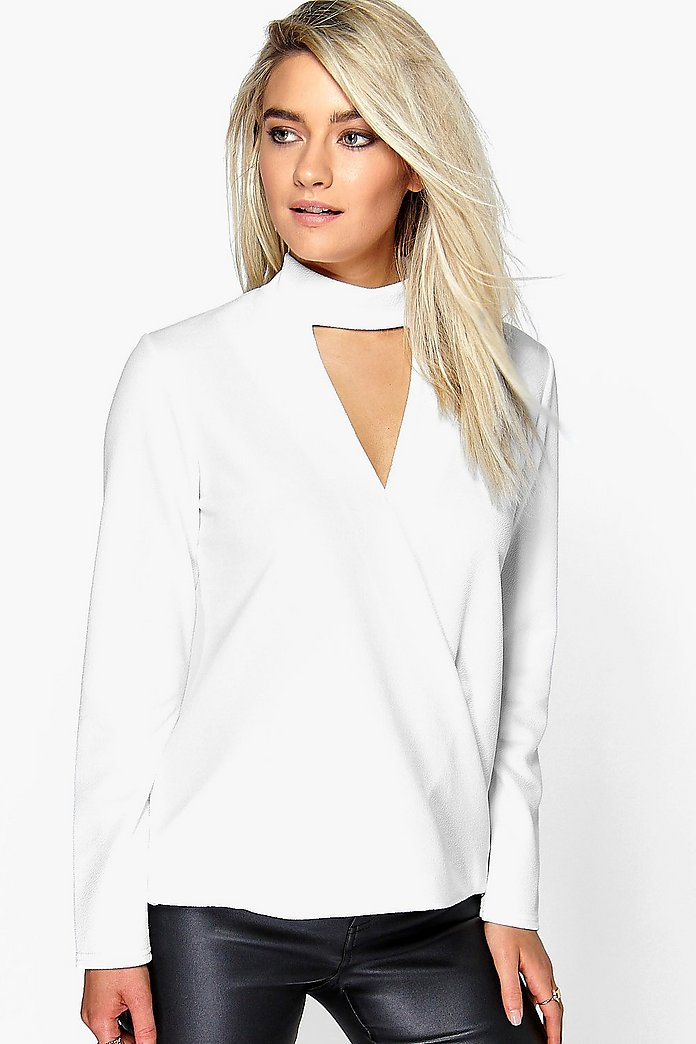 Megan Cut Out Neck Wrap Front Top