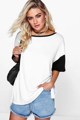 Paige Oversized Contrast Cuff T Shirt