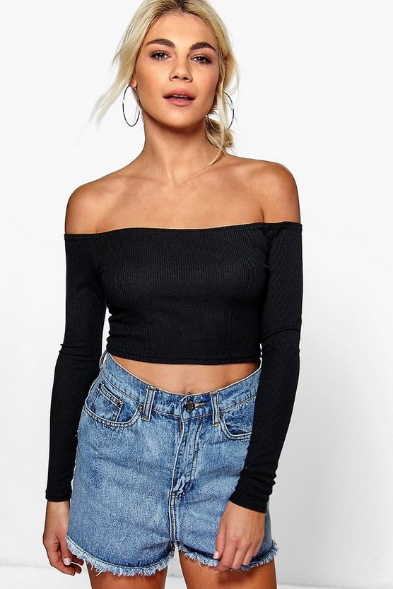 Amber Rib Off The Shoulder Long Sleeve Crop