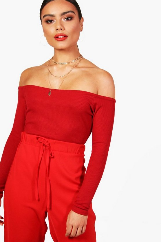 Evie Rib Off The Shoulder Long Sleeve Crop