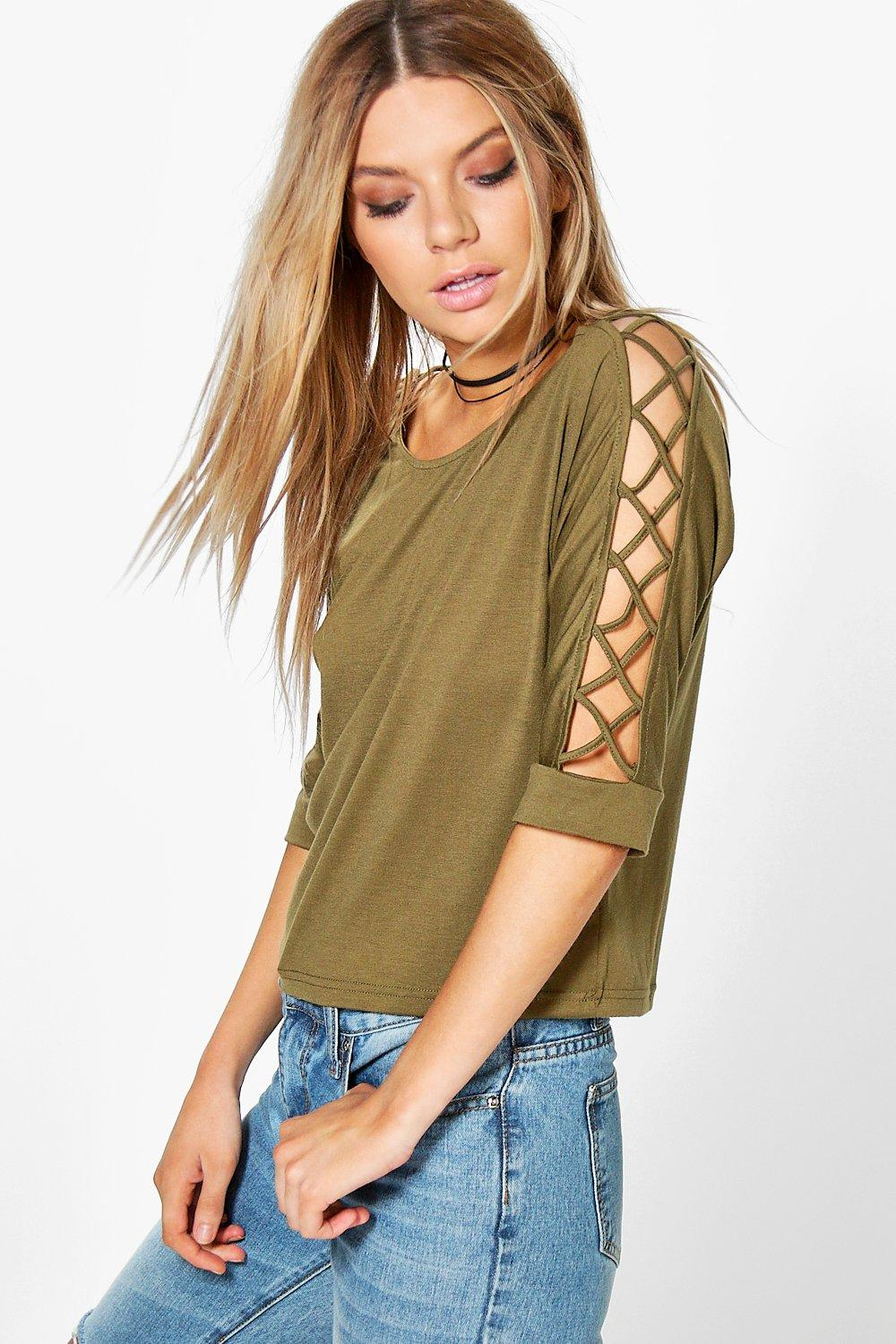 Ivy Multi Strap Sleeve Strap Detail Tee