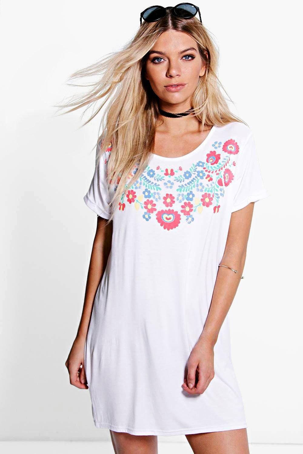 Sophie Flower Printed T-Shirt Dress