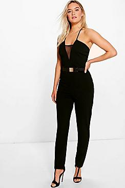 Katie Mesh Front Panel Jumpsuit And Belt