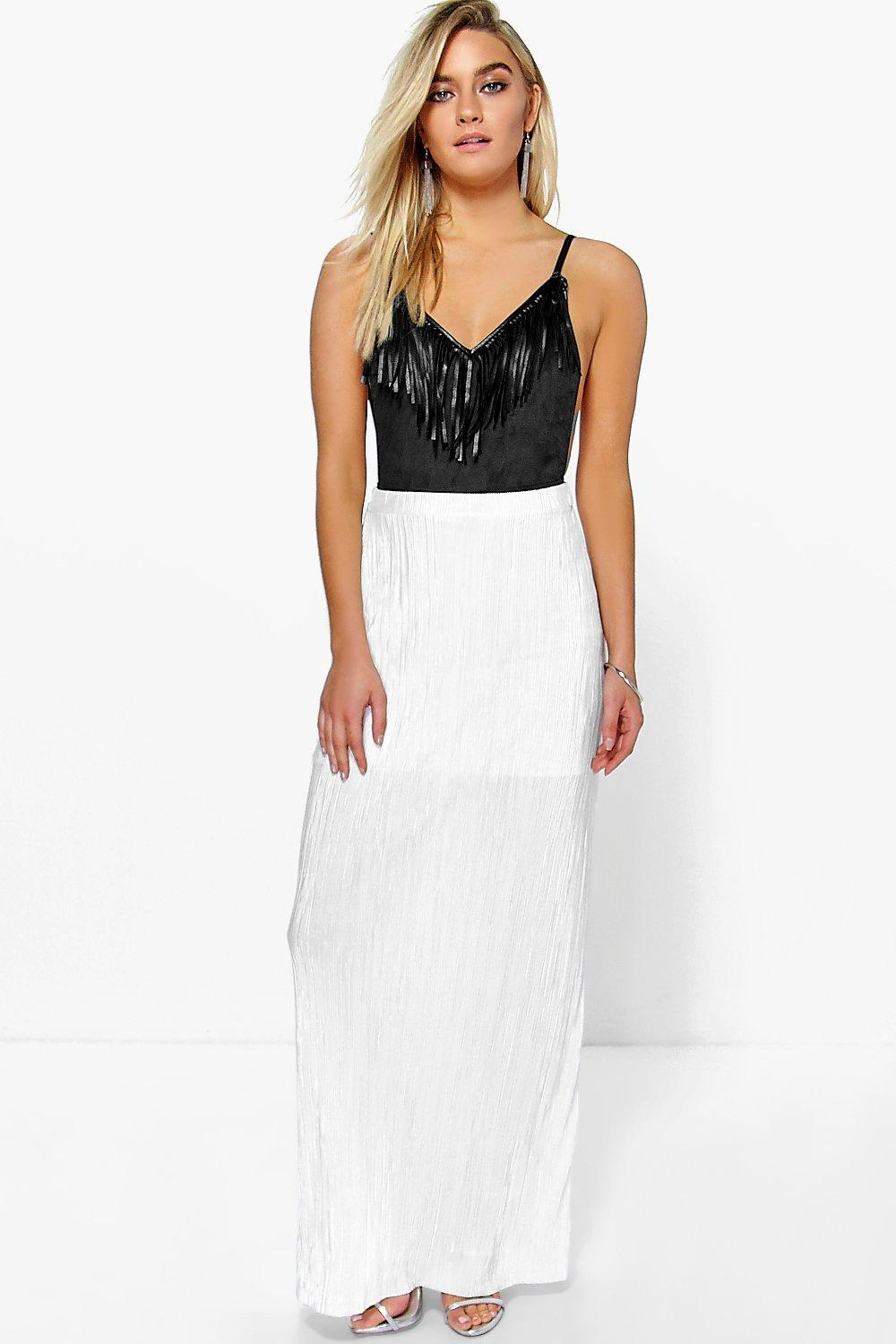 Skye Pleated Slinky Maxi Skirt