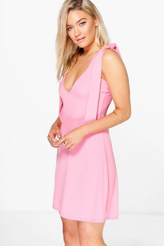 Joanne Tie Shoulder Fit And Flare Dress