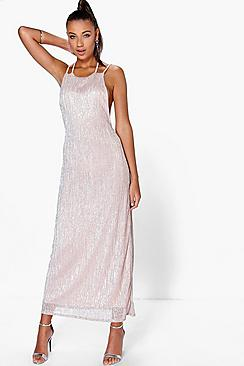 Bethan Strappy Back Metallic Maxi Dress