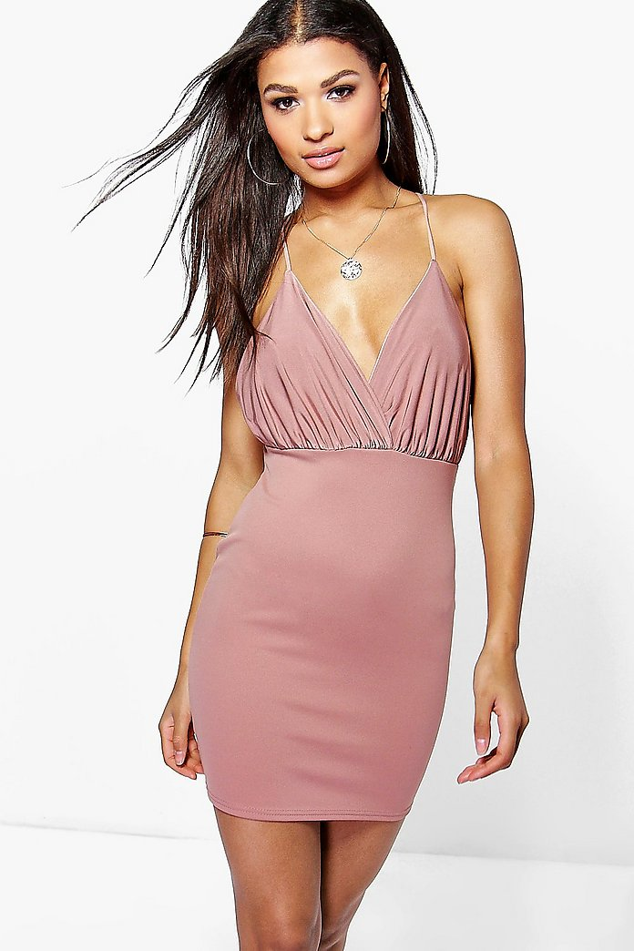 Amelia Plunge Neck Strappy Bodycon Dress