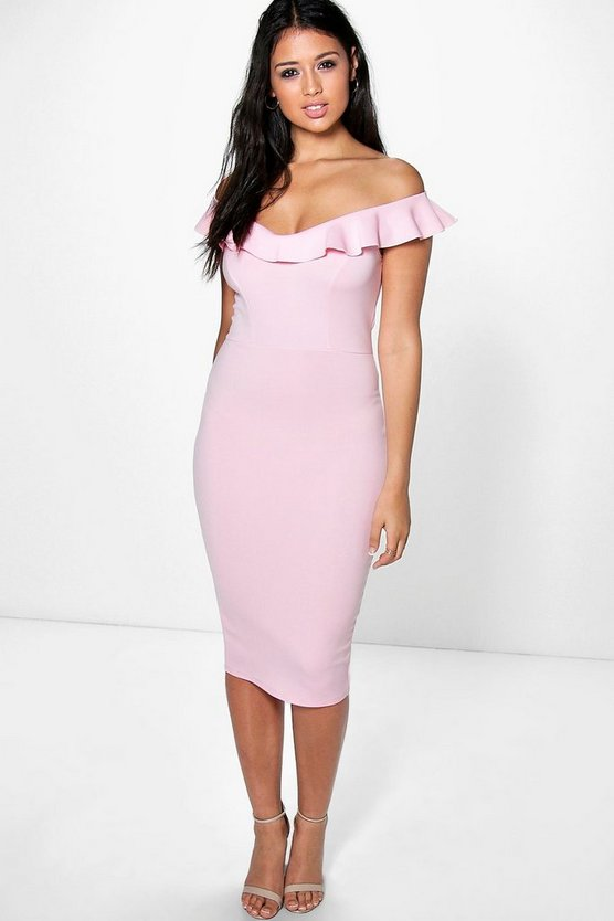 Anne Frill Sweetheart Off Shoulder Midi Dress