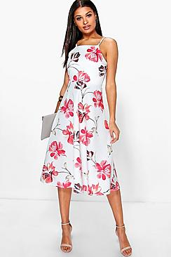 Nancy Floral Strappy Midi Skater Dress