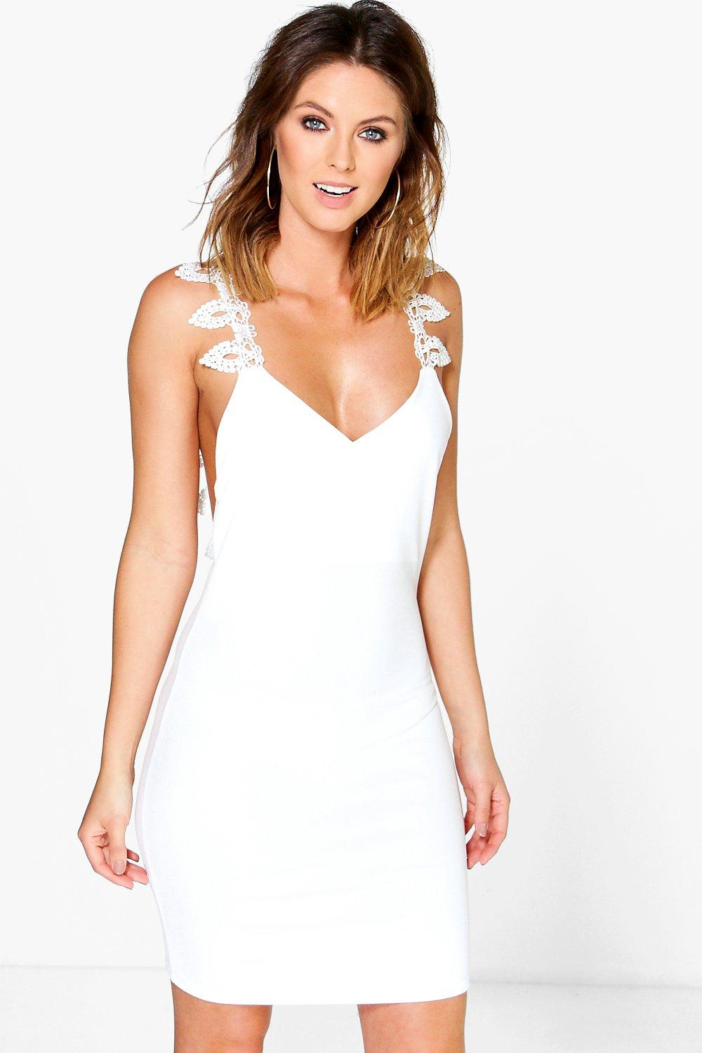 Bronte Crochet Cross Back Trim Bodycon Dress
