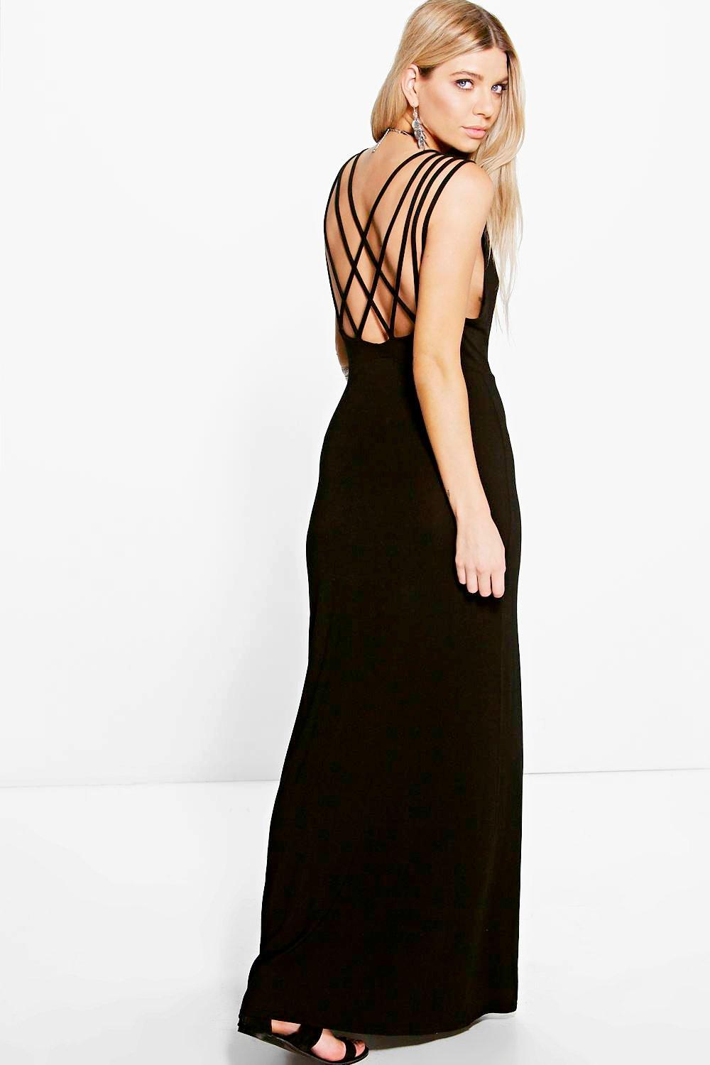 Cross Back Strap Detail Maxi Dress black