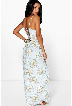 Doina Strappy Back Floral Printed Maxi Dress