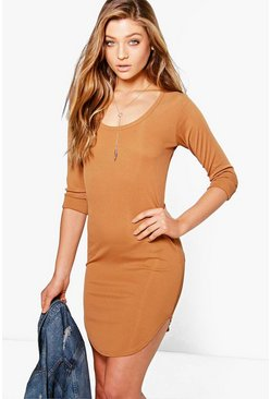 Erin Long Sleeve Scoop Neck Rib Dress