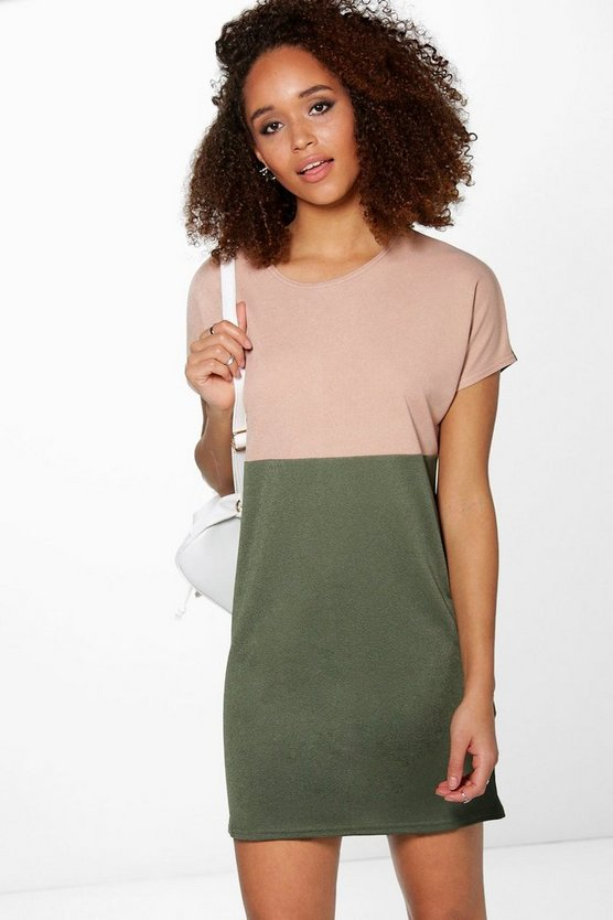 Delisa Cap Sleeve Colour Block Shift Dress