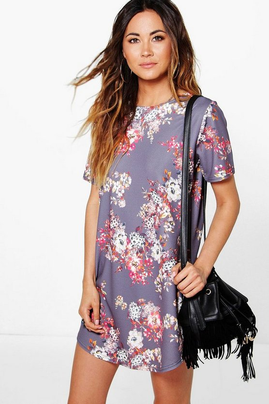 Aitana Floral Curved Hem Shift Dress