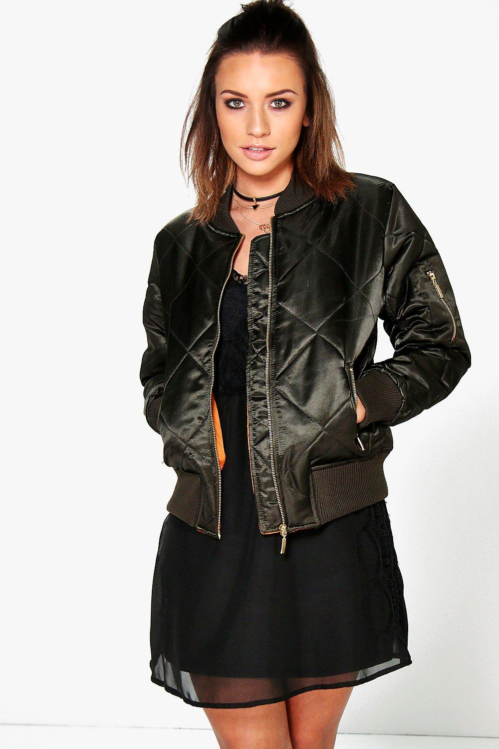 Georgina Quilted Satin MA1 Bomber