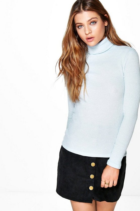 Daisy Roll Neck Rib Knit Turtle Neck Jumper