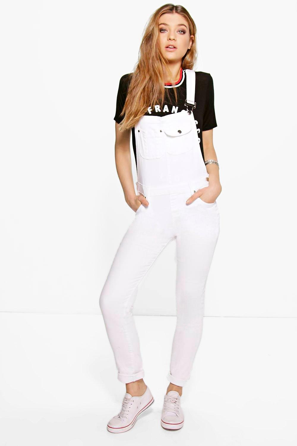 Sofia White Denim Full Length Dungarees