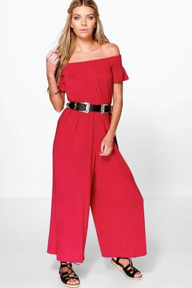 Selena Bardot Smocked Top Jumpsuit