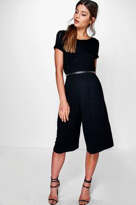 Abby Capped Sleeve Jersey Culottes Jumpsuit