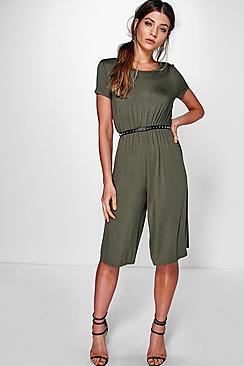 Abby Jumpsuit aus Jersey mit Hosenrock und überschnittenen Schultern - Boohoo.com