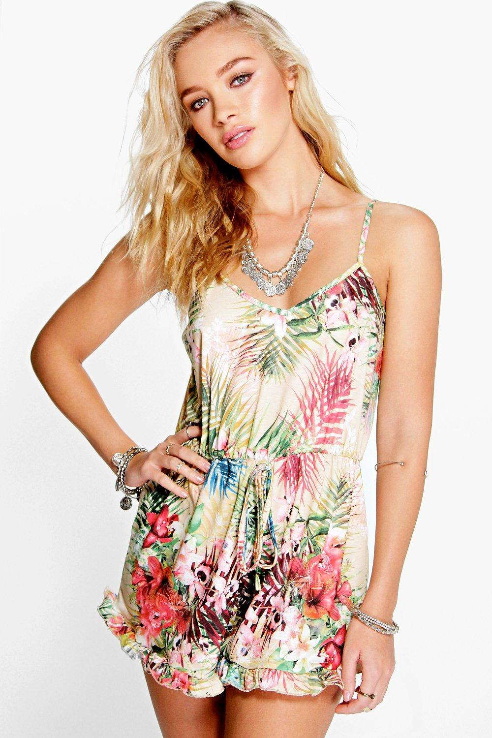 Mia Tropical Print Ruffle Hem Playsuit
