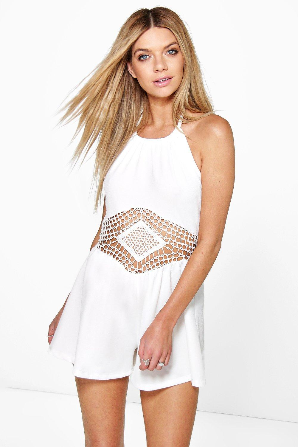 Mary Crochet Middle Halter Neck Playsuit