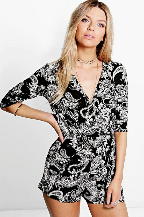 Lura Paisley Wrap Front Playsuit