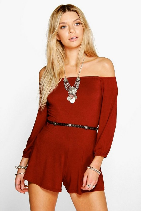 Emily Off The Shoulder Jersey Playsuit