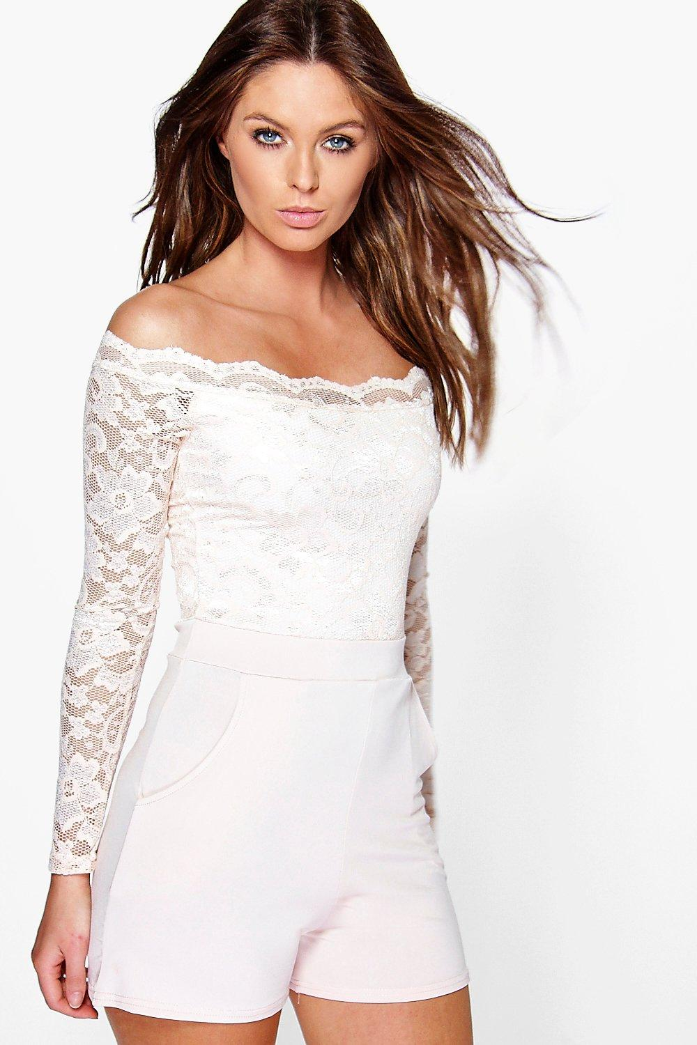 Zoe Scallop Off Shoulder Lace Playsuit