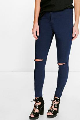 Mila High Rise Busted Knee Tube Jeans