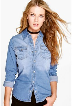Khloe Washed Western Denim Shirt